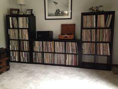 Easy record storage idea - Two 8 cube Kallax shelf units and two 4 cube Kallax shelf units from http://www.ikea.com/ca/en/catalog/products/20275885/