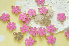 5 pcs Sakura Cherry Blossom  Charm 13mm Dark Pink by misssapporo