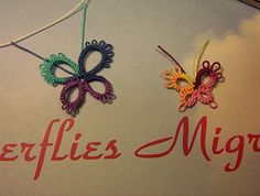 butterfly --- 4 rings, vary number of picots, variety of colors!