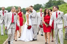 love these dresses & this photo is making me think that red dresses would be fabulous for our wedding??