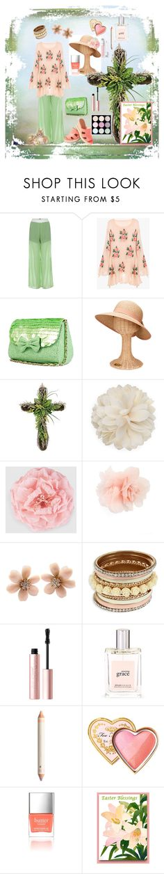 """""""A Casual Easter Morning After Church"""" by wendy-collins-1 ❤ liked on Polyvore featuring San Diego Hat Co., Gucci, Cara, Van Cleef & Arpels, Too Faced Cosmetics, philosophy and Butter London"""