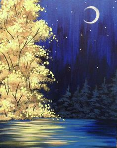 Browse our upcoming painting classes and events at Brandon Pinot's Palette! Reserve your seat for the best paint and sip experience today! Forest Painting, Winter Painting, Diy Painting, Blue Painting, Paint And Drink, Reflection Art, Wine And Canvas, Acrylic Painting Techniques, Beginner Painting