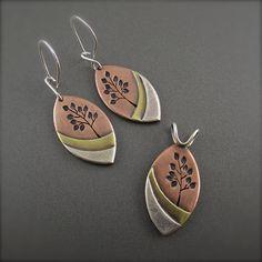 Summer Sunset Leaf Tree Landscape Earrings by Beth Millner Jewelry