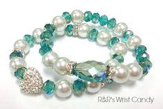 Heart of Teal Beaded Bracelet Set by RandRsWristCandy on Etsy, $9.00
