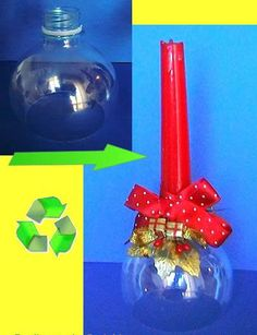 Recycle/upcycle the top of a soda bottle into a candle holder. Noel Christmas, Christmas Crafts, Christmas Decorations, Christmas Ornaments, Plastic Bottle Crafts, Recycle Plastic Bottles, Recycled Crafts, Diy And Crafts, Advent