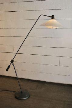 Robert Mathieu; Enameled Metal and Perspex Floor Lamp, 1950s.