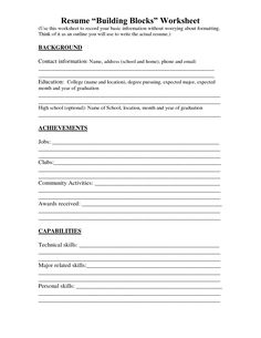 resume worksheet printable and high school builder free bulder build intended