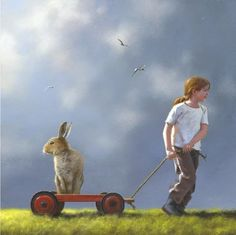 """""""Pulling a Fast One"""" by Jimmy Lawlor Rabbit Crafts, Rabbit Art, Rabbit Hole, Jimmy Lawlor, Jumbo The Elephant, My Art Studio, Surreal Art, Limited Edition Prints, Art For Kids"""