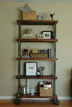 Swoon Worthy: Industrial Chic: Wheeled Iron Shelves