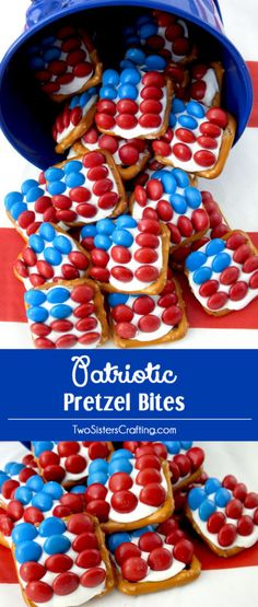 These fun Patriotic Pretzel Bites are the perfect dessert for a 4th of July Party, a Memorial Day BBQ or an Olympics viewing party. So easy to make and so sweet, salty and delicious. This yummy 4th of July treat is a true crowdpleaser. Pin this 4th of July snack for later and follow us for more great 4th of July food ideas. 4th Of July Desserts, Fourth Of July Food, 4th Of July Party, Holiday Desserts, Holiday Treats, July 4th, Holiday Recipes, Patriotic Desserts, Patriotic Party