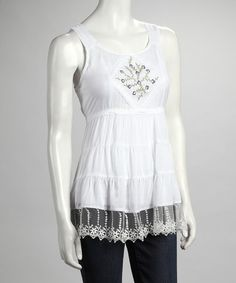 Take a look at this White Embroidered Lace Sleeveless Top by Ruby Rose on #zulily today!