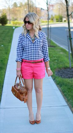 Coral jeans, gingham shirt. Both of which they have at Old Navy.... Don't like the shoes & purse tho...