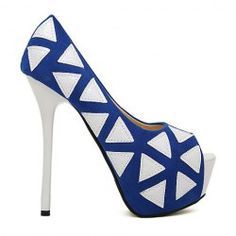 $14.34 Elegant Style Women's Peep Toed Shoes With Geometric and High Heel Design