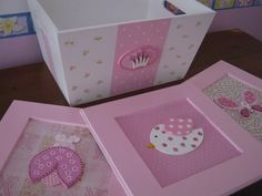 caja-cajas-portaajuar mas cuadros en fibrofacil pintado a ma Baby Shawer, Baby Box, Wood Crafts, Diy And Crafts, Decoupage, Kit Bebe, Baby Cards, Painting On Wood, Diy Art