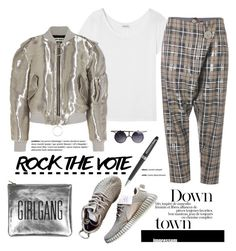 """""""Rock the Vote in Style"""" by cruzeirodotejo ❤ liked on Polyvore featuring Yves Saint Laurent, Vivienne Westwood Anglomania, Off-White, Sarah Baily, Montblanc and rockthevote"""