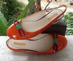 La Fenice Orange Patent Leather Low Wedge Slingback Purp/Green Bow Accent Sz 8