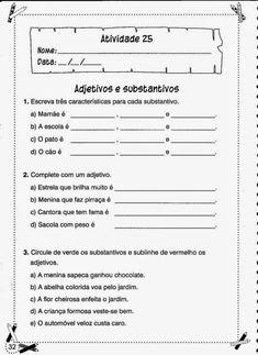Portuguese Lessons, Primary School, Sheet Music, Homeschool, Teacher, Education, Spanish, Synonym Activities, Grammar Book
