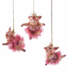 "Katherine's Collection Happily Ever After Christmas Collection Twelve 3.5"" Pig Ballerina Ornaments Free Ship"