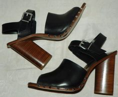Zara Basic Collection Black Leather Square Toe Sandals Stacked Heels Sz 9 EU 40 #ZaraBasicCollection #Sandals