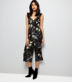 278e62a5f5 Black Floral Frill Neck Culotte Jumpsuit