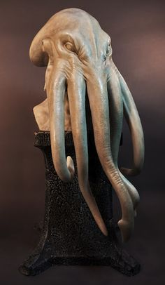 Fantasy | Whimsical | Strange | Mythical | Creative | Creatures | Dolls | Sculptures | Key of Cthulhu, faux Marble statue.