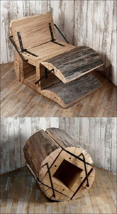 Poltrona creativa costruita completamente in legno. Quando non si utilizza la poltrona si può richiuedere.