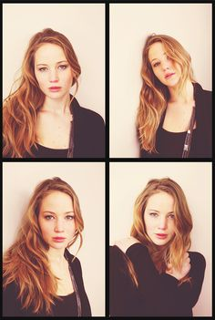 Jennifer Lawrence- wavy hair and simple makeup