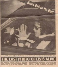 This last photo of Elvis Presley was taken shortly after midnight at AM on August Elvis was returning to Graceland in his Stutz Blackhawk with girlfriend Ginger Alden after a late night visit to his Dentist Dr. Elvis Presley Pictures, Elvis Presley Family, Elvis And Priscilla, Lisa Marie Presley, Rock And Roll, Elvis Memorabilia, Graceland Elvis, National Enquirer, 1950s