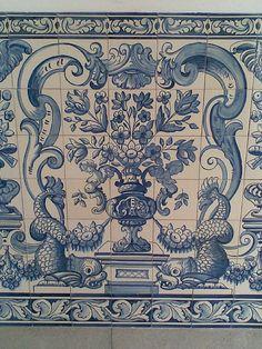 Macau Blue Tiles with Dragons