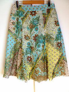 ERIC ALEXANDRE Green Blue Veil Floral Print Flared Women Skirt Size 36 (6US).  A vendre dans ma boutique ebay
