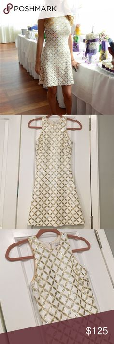 White and gold sequin pattern sleeveless dress White and gold sequin pattern sleeveless dress size XS purchased from Revolve, new condition worn once! Dress the Population Dresses Mini