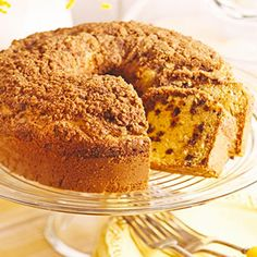 Mini chocolate chips are a delightful addition to this sour cream coffee cake recipe. Serve for dessert or brunch.