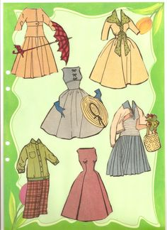 Gittan's clothes, 1957 * The International Paper Doll Society by Arielle Gabriel for all paper doll and paper toy lovers. Mattel, DIsney, Betsy McCall, etc. Join me at ArtrA, #QuanYin5 Linked In QuanYin5 YouTube QuanYin5!