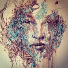 These new ink and tea portraits are by Carne Griffiths, the collection was on show at the London Art Fair 2015 with Inkd Gallery. He creates his works Amazing Drawings, Art Drawings, Amazing Artwork, London Art Fair, Graffiti, Portraits, Illustration, Pencil Portrait, Back To Nature