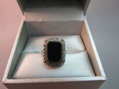 Sterling Silver Ring Black Onyx Stone Size 7.5 Marcasites 4.4 Grams Emerald Cut #Cannotmakeoutmark #Cocktail