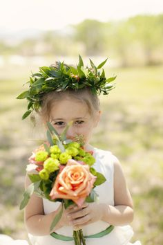 A leafy green flower girl crown makes an interesting change from the usual floral