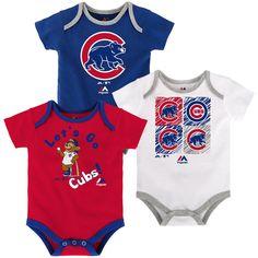 Newborn & Infant Chicago Cubs Majestic Royal/Red/White Go Team 3-Pack Bodysuit Set