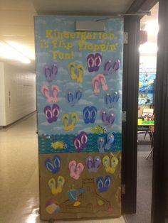 beach theme classroom | Beach theme door decoration.