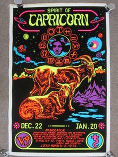 Original Vtg 1976 Black Light Velvet Capricorn Poster Neon Zodiac Star Sign