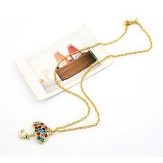 Colorful Rhinestone Umbrella Pendant Sweater Chain Necklace