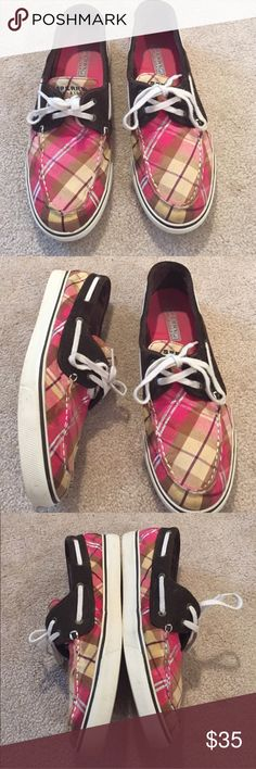 Sperry Top-Sider Striped Pink & Silver Boat Shoe Striped  Sperrys. Excellent condition. Women's size 10. Sperry Top-Sider Shoes Sneakers