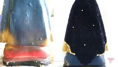 Antes e depois - detalhe da restauração em gesso, realizada pelo Ateliê.