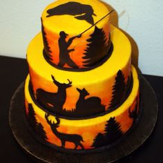 Neat cake for the hunter/fisherman The style would work well for other themes too.