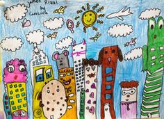 James Rizzi: pop city landscape. One of the best classes for kids I ever have, they enjoy so much painting and introducing their own invented world...you have to try it
