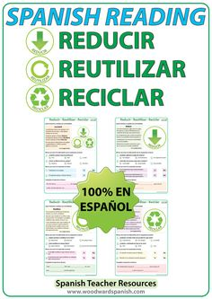 Spanish Reading passages about the three Rs: reduce, reuse and recycle. Lecturas en español acerca de reducir, reutilizar, y reciclar.