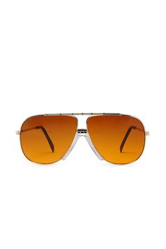 A pair of unisex aviator sunglasses by Replay Vintage™ featuring a high-polish metal frame with an etched brow bar and bridge, contrast cushioned nosepads, and tinted lenses.