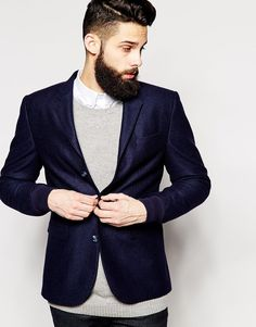 $57, Navy Blazer: Asos Brand Slim Fit Blazer With Rib Cuffs. Sold by Asos. Click for more info: https://lookastic.com/men/shop_items/202461/redirect