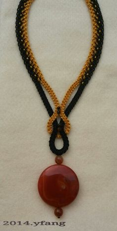 Black and gold macrame necklace with carnelian stones. ~Modren macrame jewelry is simple,but stylish ~