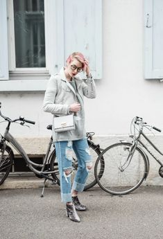 STYLECASTER | Non-Basic Ankle Boots | Street style influencer wearing metallic ankle boots