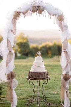 Rustic Burlap and Lace Wedding Arch. What a beautiful wedding arch decoration idea! Love it!